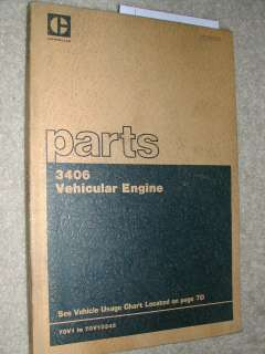 CAT Caterpillar 3406 PARTS MANUAL BOOK CATALOG DIESEL ENGINE 70V1