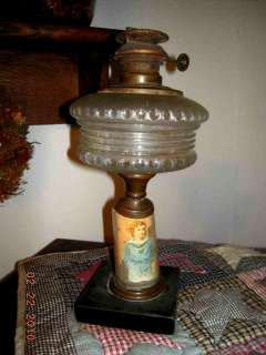 victorian PARLOR OIL LAMP~SAILOR BOY CHILD DIE CUT in BASE~GORGEOUS