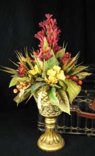 Red and Gold Mixed Floral Centerpiece Floral Arrangement