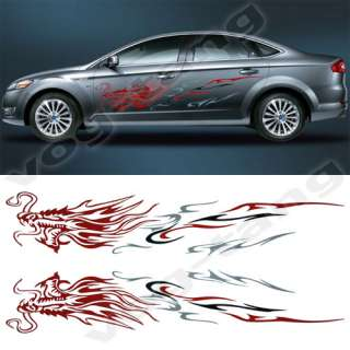 2x Dragon Tattoo Car Auto Side Body Vinyl Graphic Decal Sticker Gray