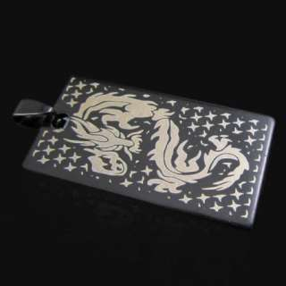 COOL Mens black stainless steel dragon pendant necklace ST35
