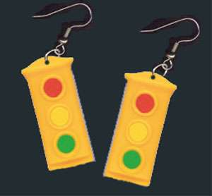 Funky TRAFFIC STOP LIGHT SIGNAL EARRINGS Police Jewelry