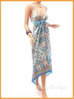 Light Blue Floral Satin Long Maxi Summer Dress, S M L