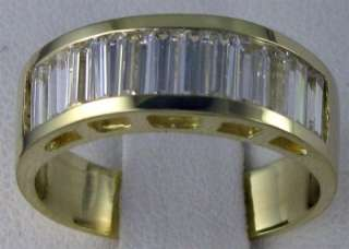 R9118 14K solid gold 1.2ct CZ baguette mens band ring