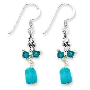 Sterling Silver Turquoise & Blue Crystal Antiqued Earrings