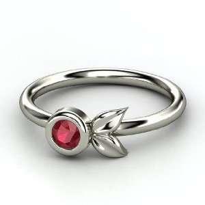 Boutonniere Ring, Round Ruby Palladium Ring Jewelry