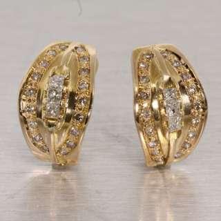 Diamond 14K Yellow Gold French Clip Vintage Estate Fashion Earrings