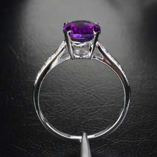 AMETHYST H/SI DIAMOND 14K WHITE GOLD ENGAGEMENT Wedding RING 6
