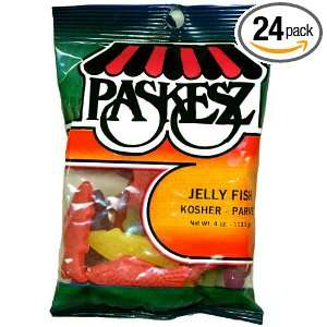 Paskesz Jelly Fish, 4 Ounce Bags (Pack of 24):  Grocery