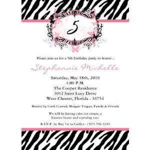 5x7 Butterfly Zebra Print Birthday Part Invitation (10