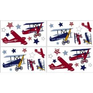 Vintage Aviator Baby and Childrens Airplanes Wall Decal Stickers   Set
