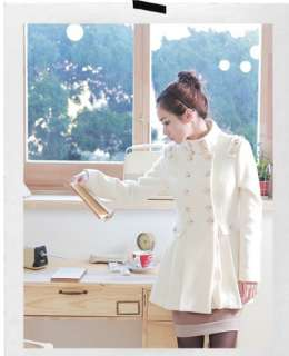2012 NEW Women White Cashmere Double breasted coat Jacket #61
