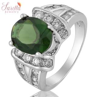 Green Emerald White Gold GP Ring Lady Fashion Jewelry Size 7/O