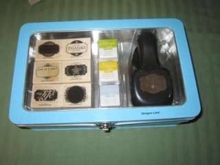 Stampin Up DESIGNER LABEL RUBBER STAMP SET & PAPER PUNCH TIN BOX SET