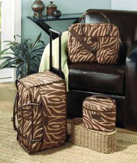 Pc Light and Dark Brwon Zebra Animal Print Suitcase Luggage Set