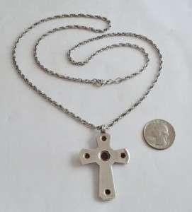 RETIRED James Avery Sterling Silver 14K Amethyst & Garnet Cross