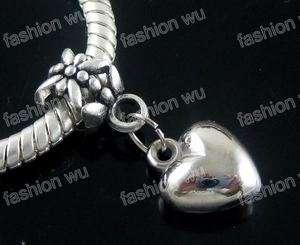 Lot 50 Pcs Loving Heart Beads Fit Charm Bracelet 1