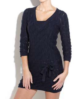 Navy (Blue) Bench Cable Knit Belted Dress  234981141  New Look