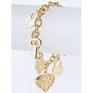 Gold Heart & Key Charm Bracelet Jewelry