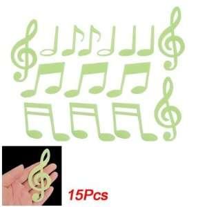 Amico Bedroom Light Green Music Note Luminous Stickers 15 Pcs
