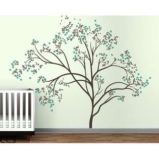 Tree Extra Large Wall Decal   Color D.Brown / Turquoise