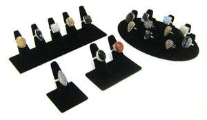 Black Velvet Ring Jewelry Showcase Display Stands