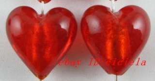 Free Ship! 30pcs red heart glass beads 20mm