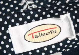 TALBOTS 8 Navy White Floral Polka Dots Embroidered Cotton Skirt Red