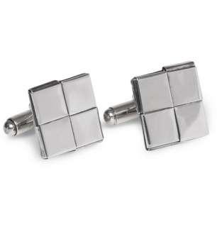 Bottega Veneta Intrecciato Antique Silver Flat Square Cufflinks  MR