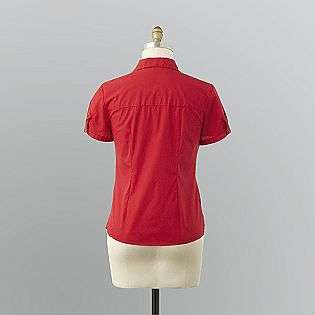 Womens Open Neck Camp Shirt  Basic Editions Clothing Womens Tops