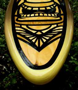 Earth Tone Kane Mask Tiki Surfboard Art Solid Wood New