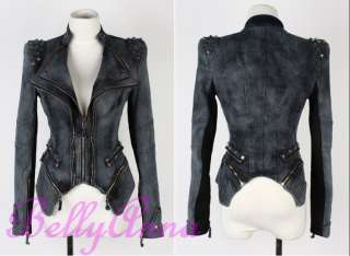 Vintage Punk Studded Peak Power Shoulder Denim Jeans Tuxedo Coat