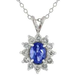 Sapphire Blue Mystic Topaz Oval and Round White Topaz Silver Pendant