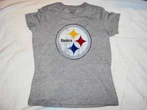 STEELERS Weathered Logo NFL Grey Reebok Womens Cut T Shirt NEW