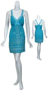 Beautiful Turquoise Embroidered Gold Beaded Cocktail Party Dress 0 NEW