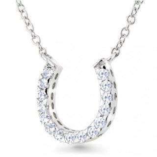 XPY Sterling Silver Black and White Diamond Double Horseshoe Necklace