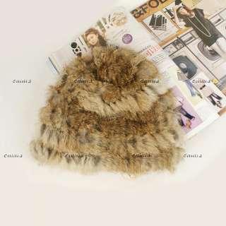 4colors Real REX RABBIT Fur Knit Hat/Scarf/Cape Fashion