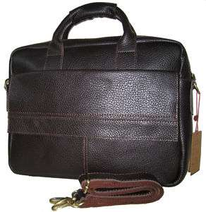 Mens Brown Leather Briefcases Carry on Laptop Bags Tote