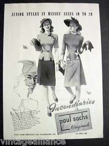 1943 Vintage PAUL SACHS Navy Sailors WWII Fashion Ad