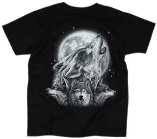 BIKER KINDER T SHIRT MOONLIGHT WOLF MOTIV 8 12 JAHRE
