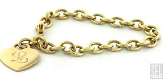 HEAVY 18K GOLD LOVELY HIGH FASHION HEART CHARM CHAIN BRACELET