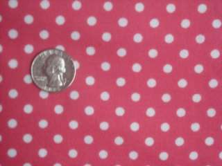 Punk Hot Pink White Polka Dot Quilting Flannel Cotton Sewing Craft
