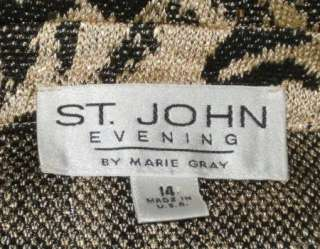 ST JOHN Evening Gold Paillettes Black Animal Print Jacket 14