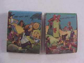 Greenfield,Indiana Corner Grocery 4 matchbook set w/Hillbilly cartoons
