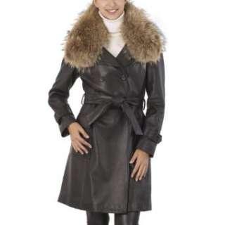 Jessie G. Womens New Zealand Lambskin Leather Trench Coat
