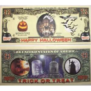 Set of 10 Bills Trick or Treat 13 Dollar Bill  Toys & Games