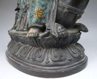 Chinese 24K Gold Gilt Cloisonne Kwan Yin Quan Yin Buddha Statue