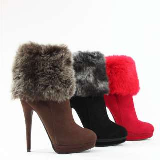 14CM HIGH HEELS STILETTO ANKLE BOOTS STIEFELETTE KUNST FELL M501