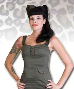 Army Green Military Tank Top Pin Up Living Dead Souls
