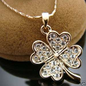 clover Swarovski crystal 18K gold Gp necklace N124